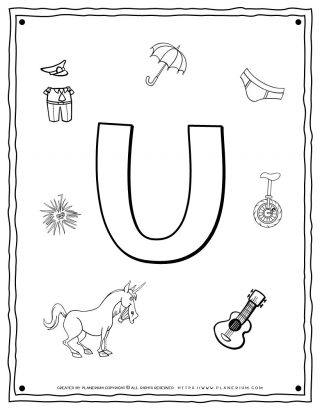 English Alphabet - Things Starting With U - Coloring Page | Planerium