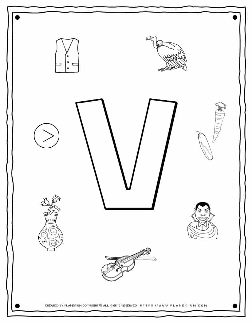 English Alphabet - Things Starting With V - Coloring Page   Planerium