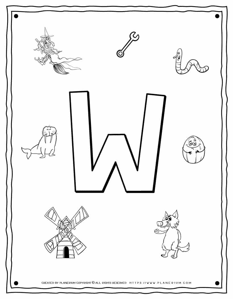English Alphabet - Things Starting With W - Coloring Page | Planerium
