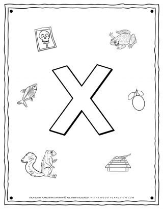 English Alphabet - Things Starting With X - Coloring Page | Planerium