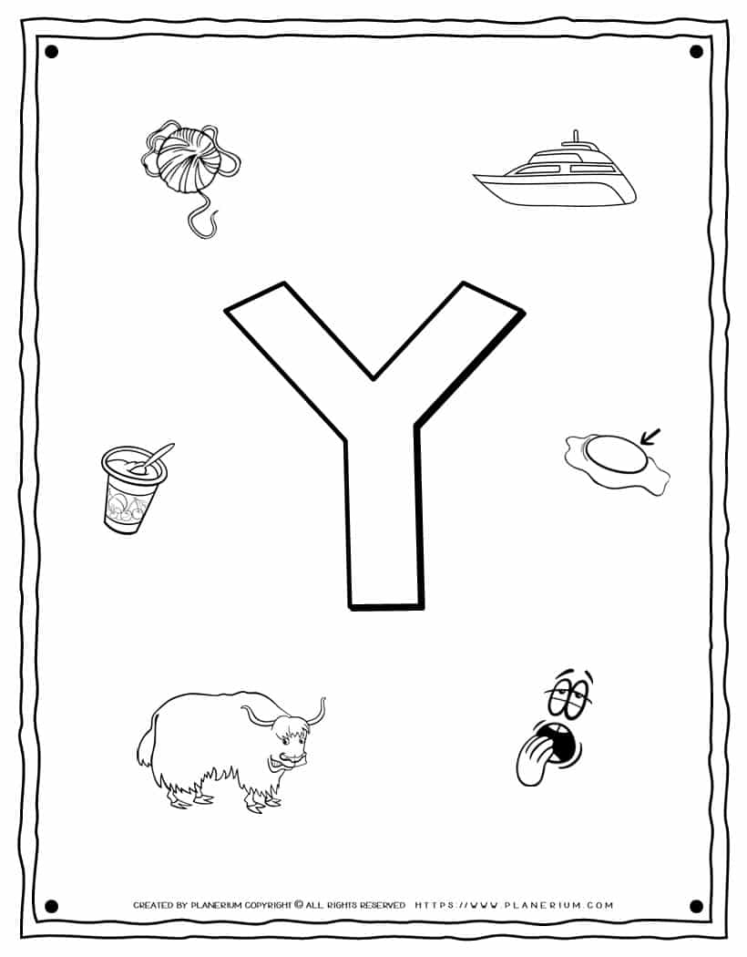 English Alphabet - Things Starting With Y - Coloring Page   Planerium