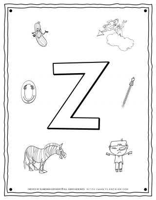 English Alphabet - Things Starting With Z - Coloring Page | Planerium
