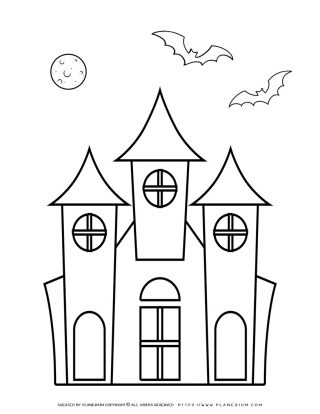 Halloween Coloring Page - Haunted House | Planerium