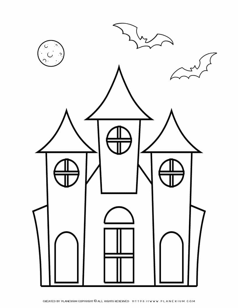 Halloween Coloring Page - Haunted House   Planerium