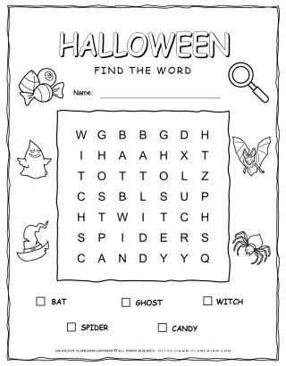 Halloween Word Search Puzzle with Five Words | Planerium