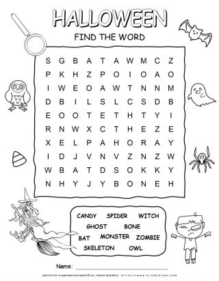 Halloween Word Search Puzzle with Ten Words | Planerium