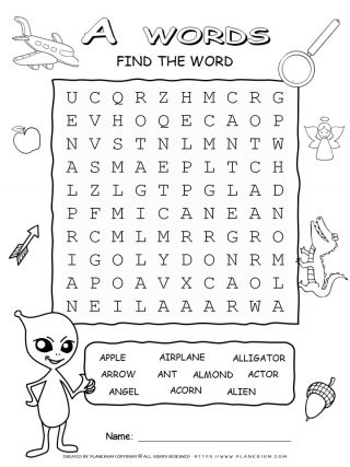 Word Search - Words That Start With A - Ten Words Puzzle | Planerium