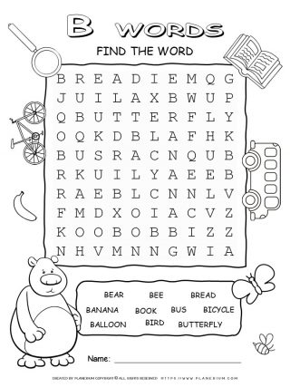 Word Search - Words That Start With B - Ten Words Puzzle | Planerium