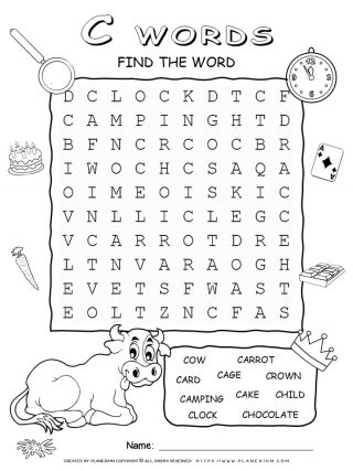 Word Search - Words That Start With C - Ten Words Puzzle | Planerium