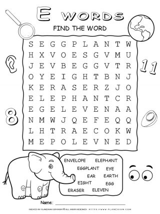 Word Search - Words That Start With E - Ten Words Puzzle | Planerium