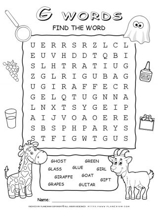 Word Search - Words That Start With G - Ten Words Puzzle | Planerium