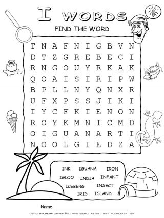 Word Search - Words That Start With I - Ten Words Puzzle | Planerium