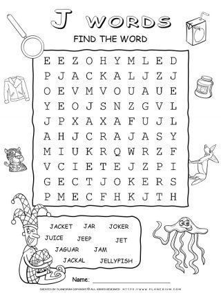 Word Search - Words That Start With J - Ten Words Puzzle | Planerium