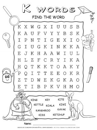 Word Search - Words That Start With K - Ten Words Puzzle | Planerium
