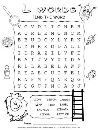 Word Search Puzzle - Words That Start With L | Planerium