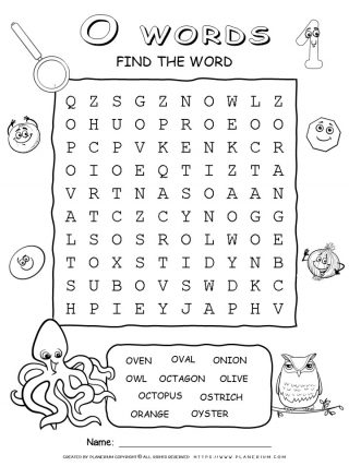Word Search - Words That Start With O - Ten Words Puzzle | Planerium
