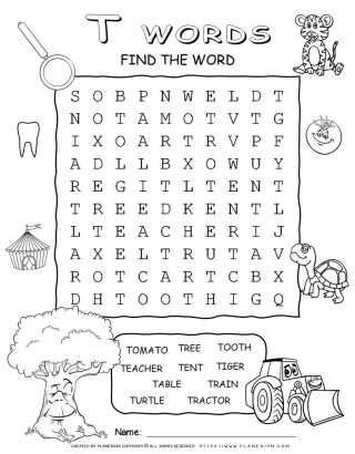 Word Search Puzzle - Words That Start With T | Planerium