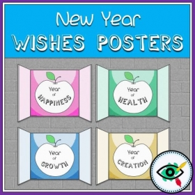 New Year – Greeting cards – Apples in a Window