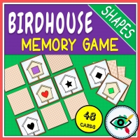 Spring – Memory Game – Birdhouse Shapes