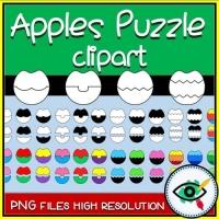 Puzzle – Clipart – 4 Sets of Apple Puzzles