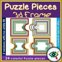 Clipart – Puzzle Pieces 3D Frames
