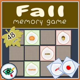 Fall Season – Matching Game – Fall Symbols and words