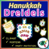 Dreidels Clipart for Decoration in Hanukkah