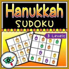 Hanukkah – Sudoku – Dreidels emojis and Letter