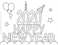 New Year 2020 – Coloring pages – Happy new year