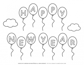New Year 2020 – Coloring pages – Balloons