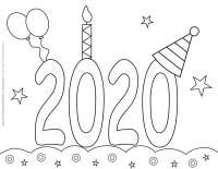 New Year 2020 – Coloring pages – 2020 Celebration