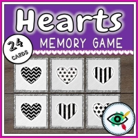 Valentines Day – Matching Game – Hearts Black and White