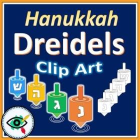 Hanukkah – Clipart – Dreidels