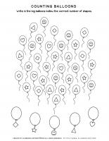 Math Worksheet – Sorting and Counting Balloons