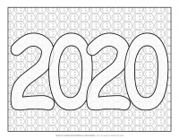 New Year 2020 – Coloring pages – 2020 Smiley sign
