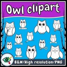 Owl Black & White Clip Art