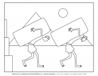 Passover coloring page – Two slaves carrying big rocks