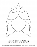 Purim – Coloring page – Queen Esther Template