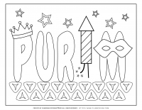 Purim – Coloring page – Purim title on Hamantaschen
