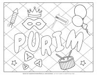 Purim Symbols on Grid background