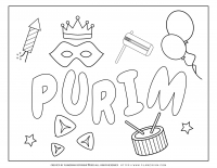 Purim – Coloring page – Symbols with large title