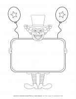 Purim Worksheet – Smiling Clown Holding a Sign