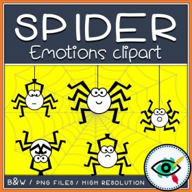 Halloween – Clipart – Spider Facial Expressions Emotions