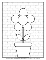 Spring coloring page – Big Flower in a Pot