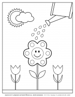 Spring coloring page – Watering a smiling flower