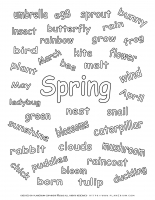 Spring worksheet – Words of Spring season