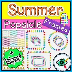 Summer Season – Clipart – Popsicle Frames and Backgrounds