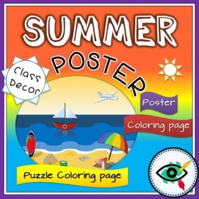 Summer Season – Coloring posters and Puzzles