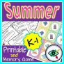 Summer Words Activities and memory Game