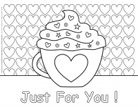 Valentines day – Coloring pages – Mug with a Heart